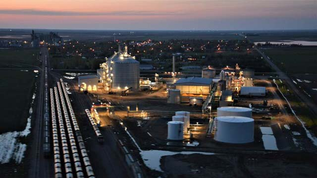 Aerial view of Ringneck Energy operations at dusk