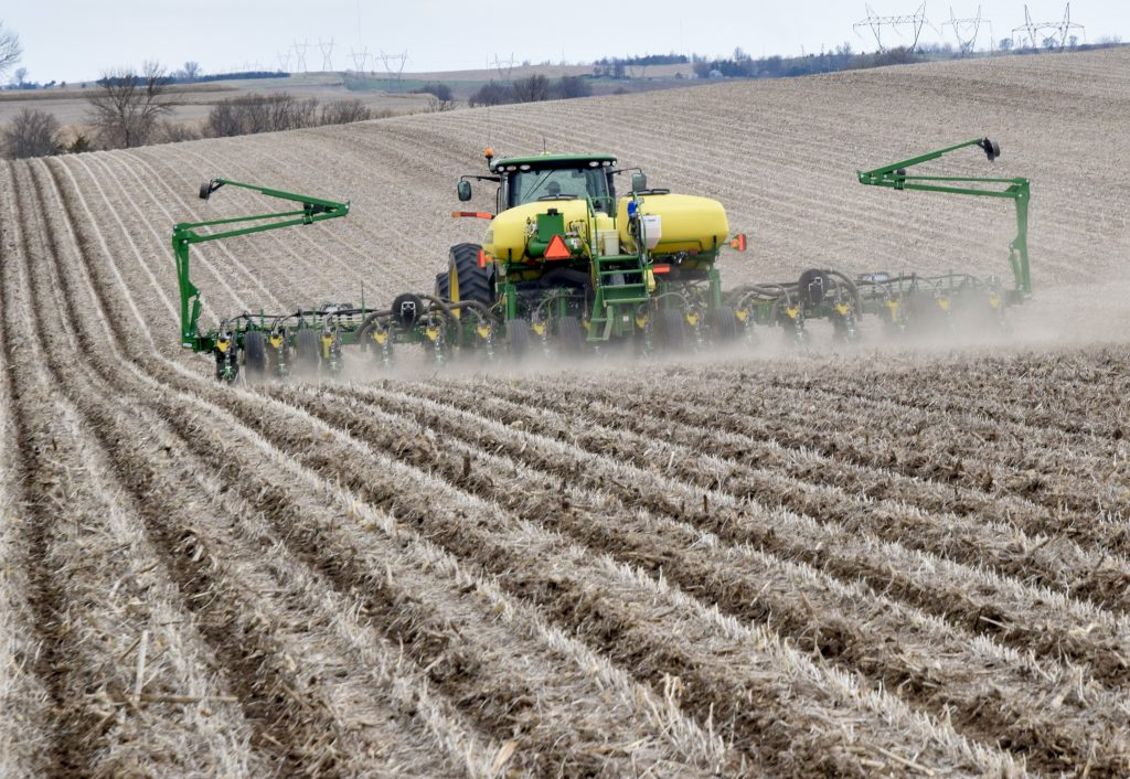 Ross Hanson plants corn in a no-till field near Garretson.
